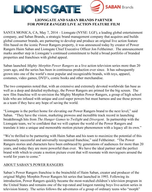 Microsoft Word - Lionsgate Saban - Press Release.docx