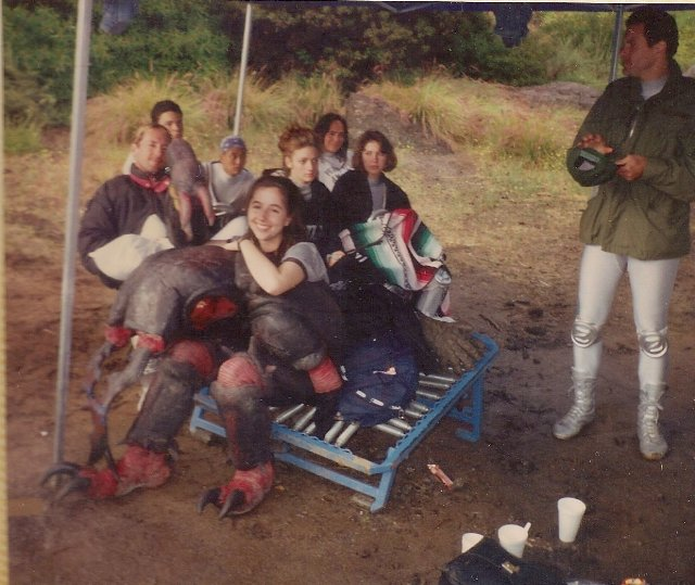 Elisabeth Fies on set MMPR